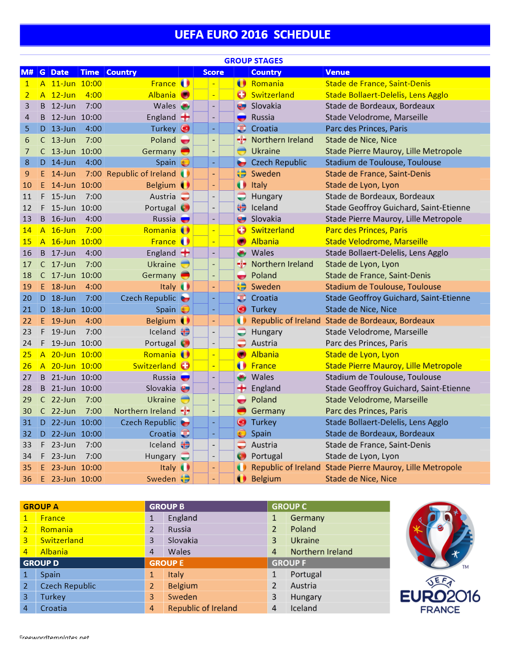 Euro 2016 Schedule Template for Word