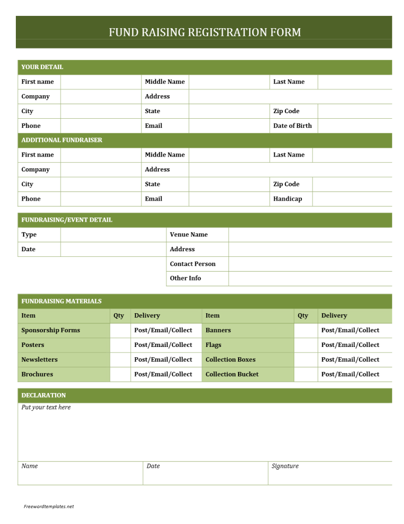 Fundraising Registration Form Template
