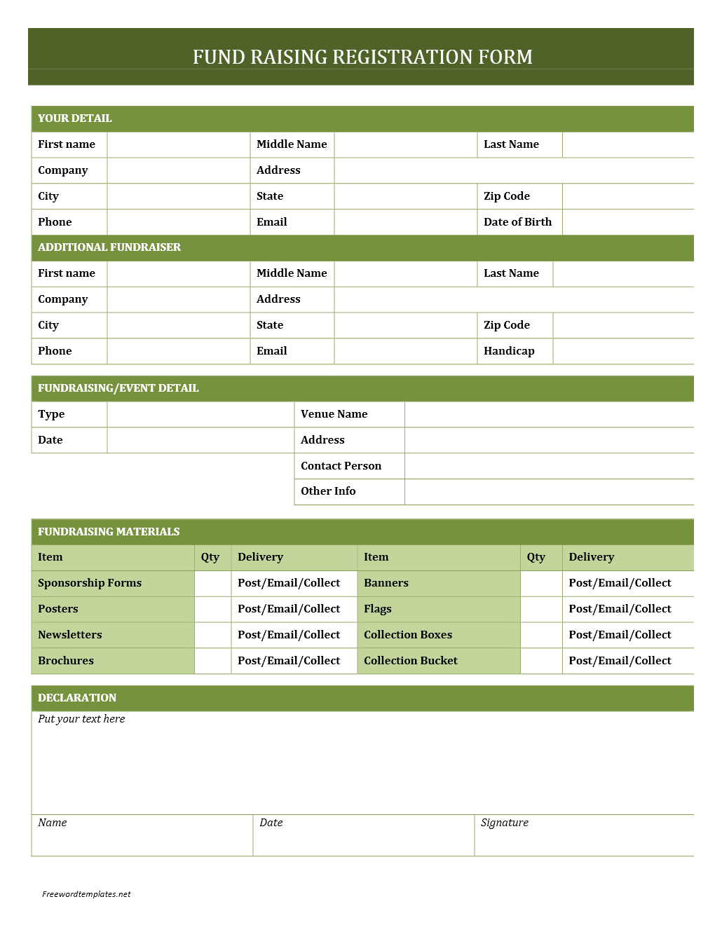 Fundraising registration form for Event booking form template word