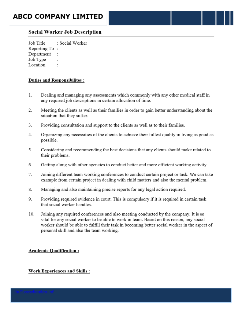 Social Worker Job Description | Word Templates | Free Word Templates ...