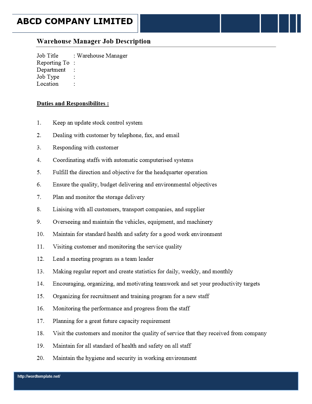 Job Description Word Templates Free Word Templates