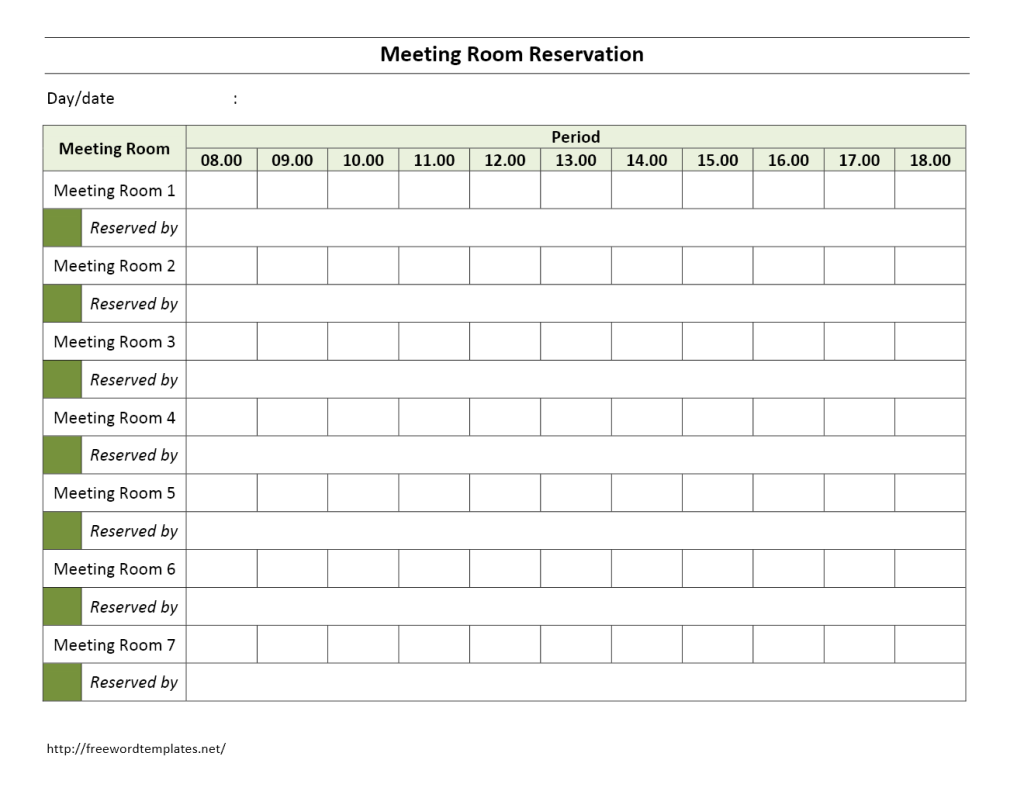 weekly meeting calendar template - meeting room reservation form