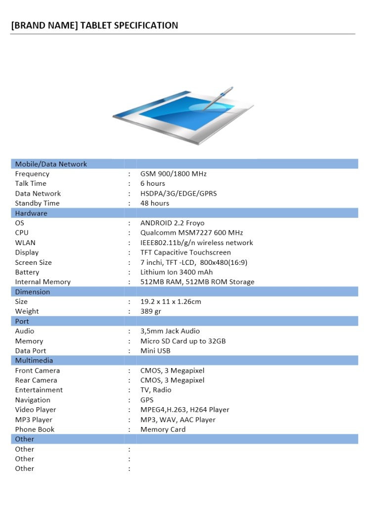 Gadget Specification Template