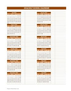 2016/2017 School Calendar Template for Word