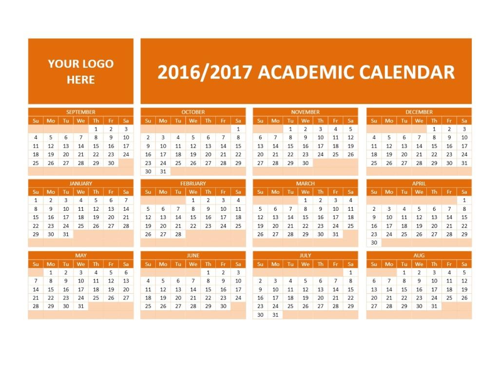 2016/2017 School Calendar Template Model 1
