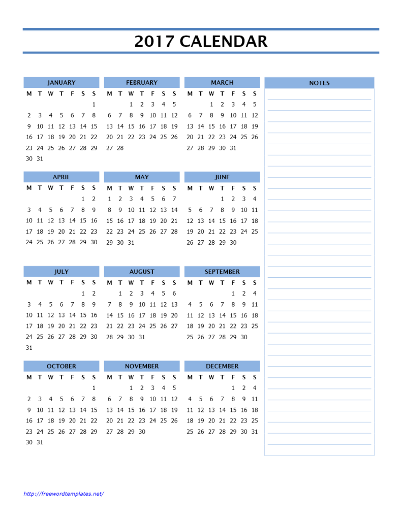 2017 Calendar Template with Side Notes