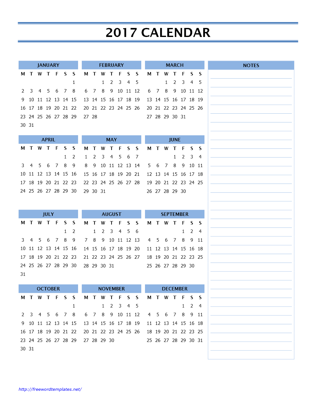 2017 Calendar Templates | Freewordtemplates.net