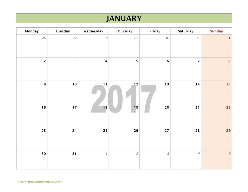 word monthly calendar 2017