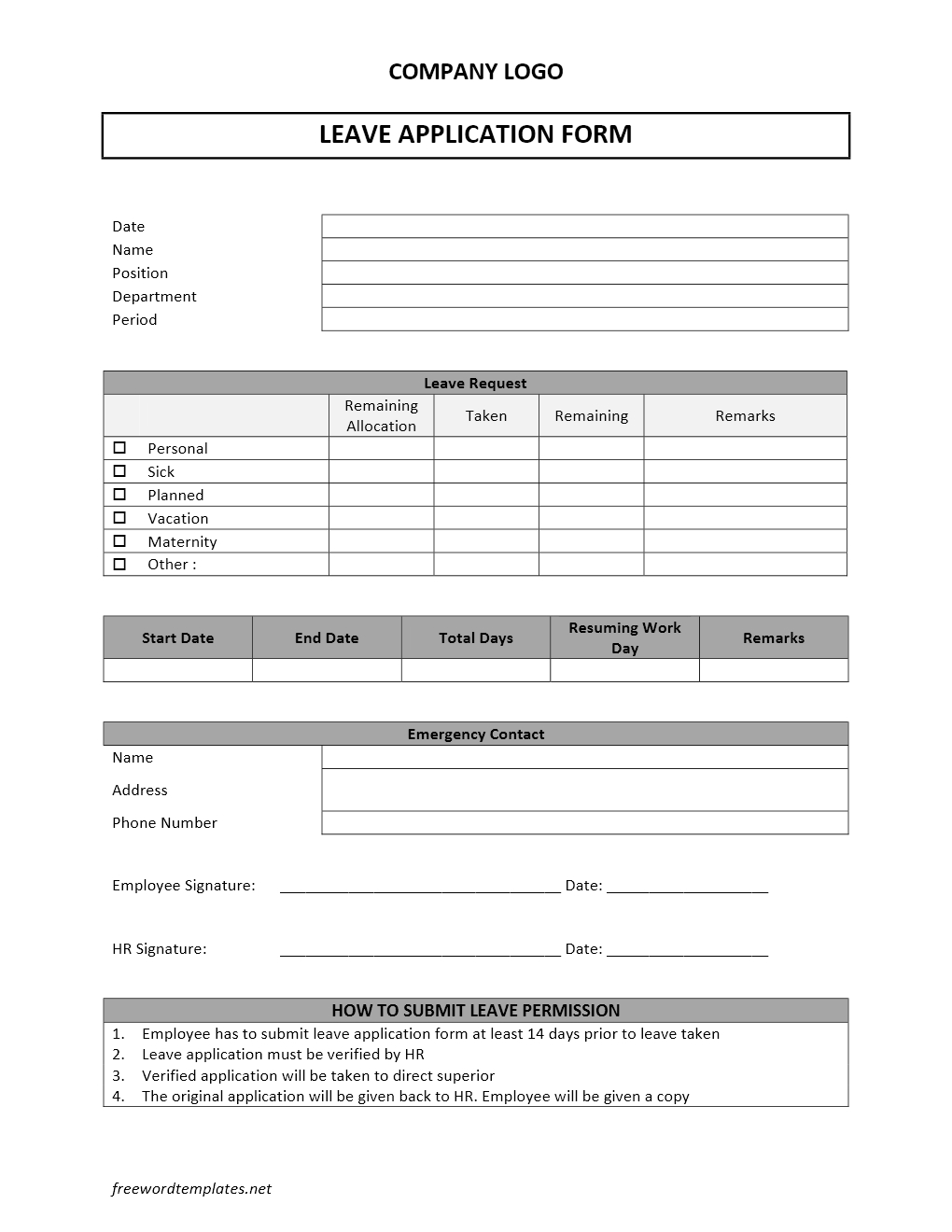 Leave Application Form – Sample Leave Request Form