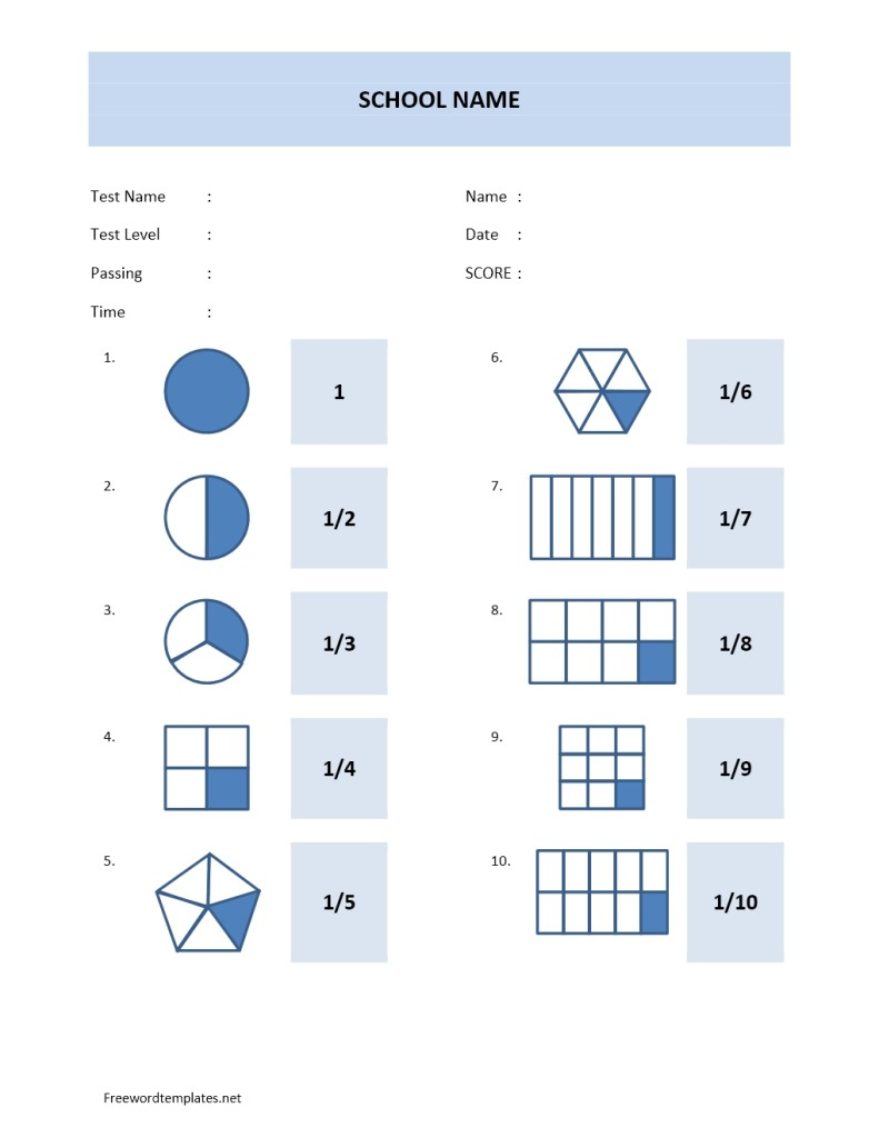 Math Quiz Sheet Template Model 4