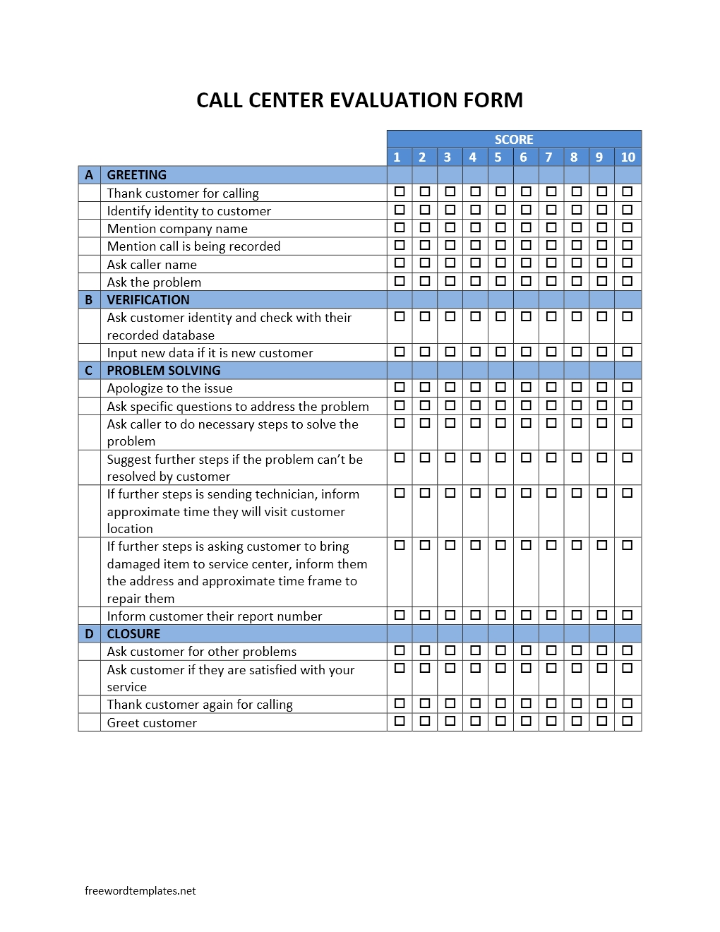 Call Center Evaluation Form Template