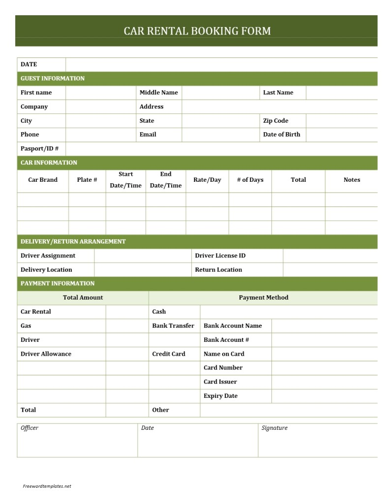 Car Rental Booking Form