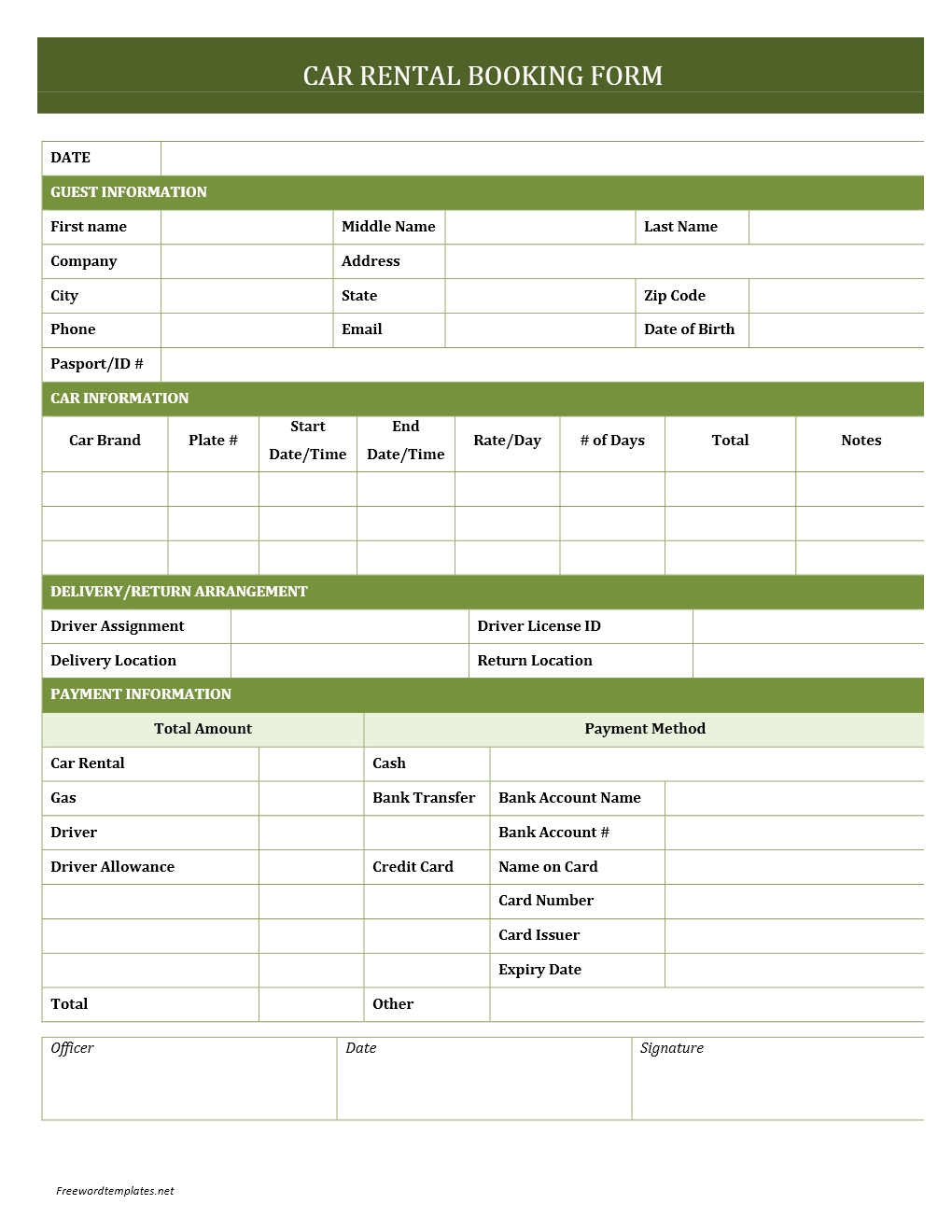Car rental booking form for Event booking form template word
