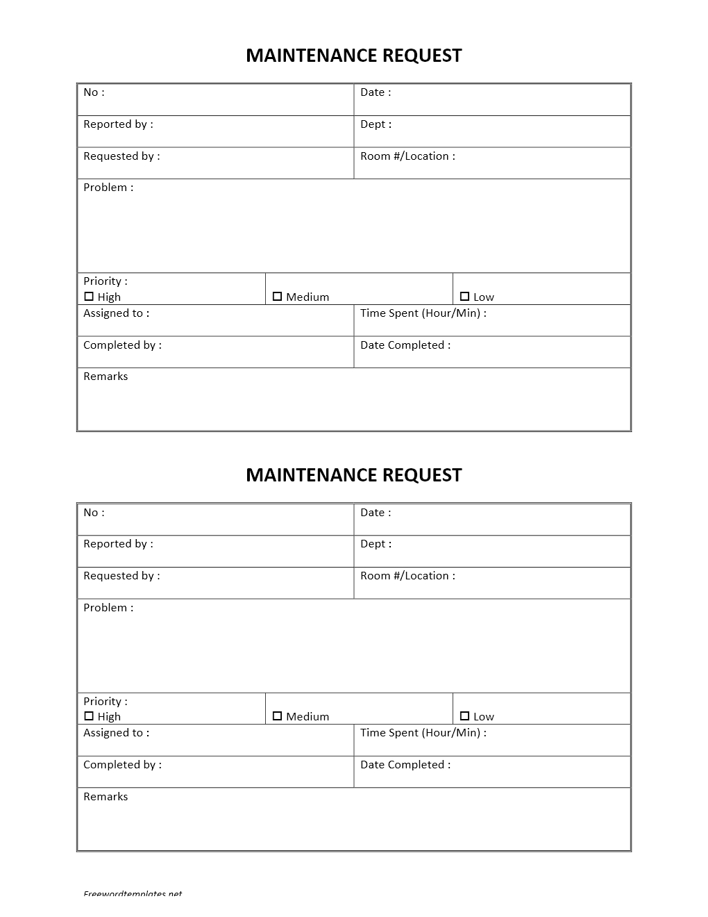 Hotel Maintenance Request Form – Request Form