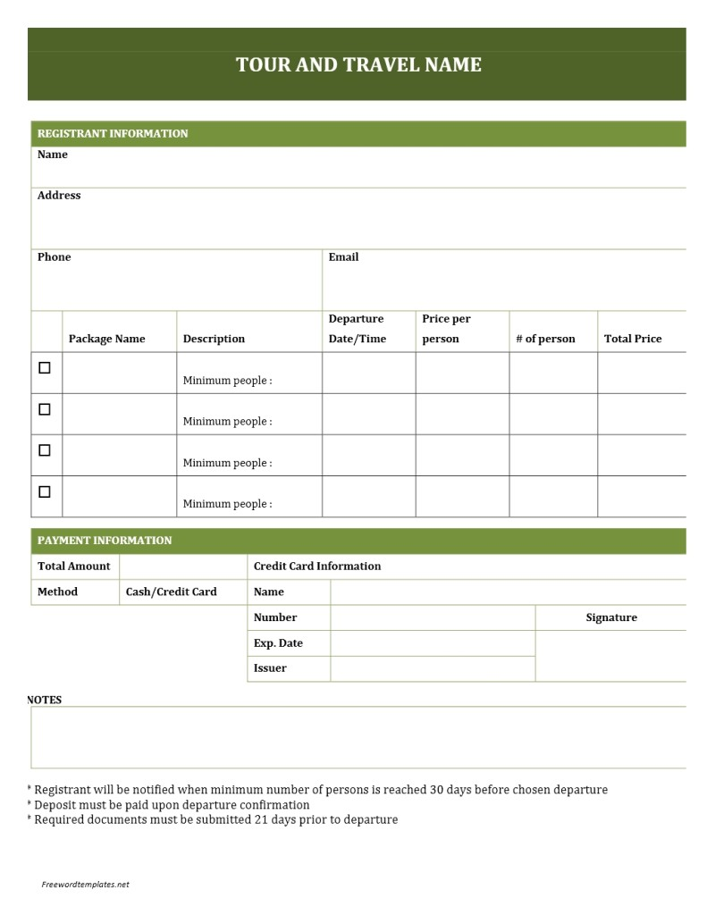 Tour and travel booking form for Event booking form template word