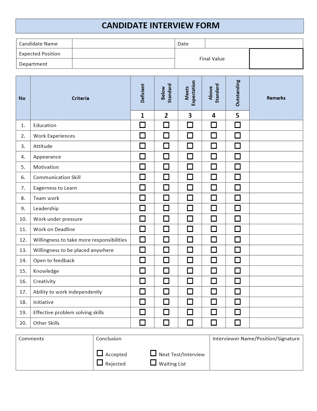 candidate application form template - candidate interview form