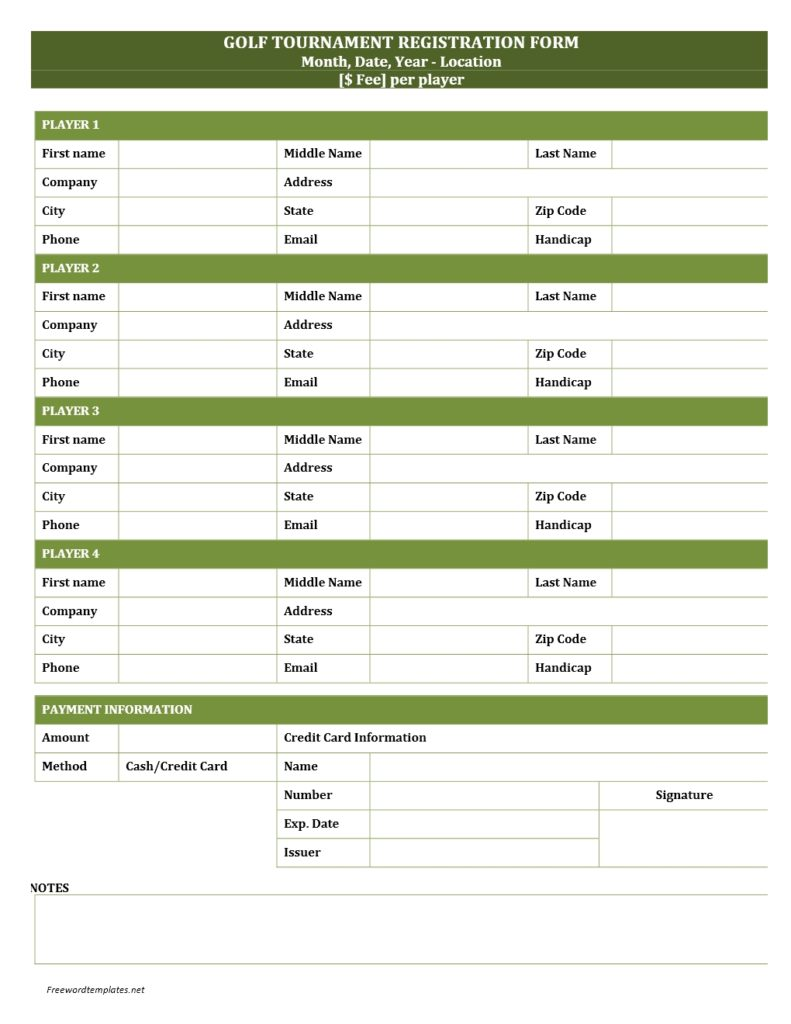 Golf tournament registration form for Sport registration form template