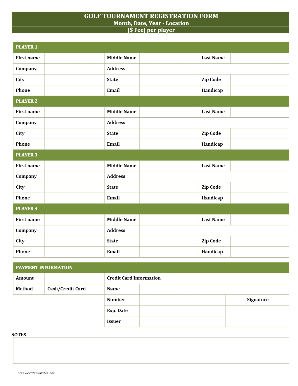 Golf tournament registration form for Event booking form template word