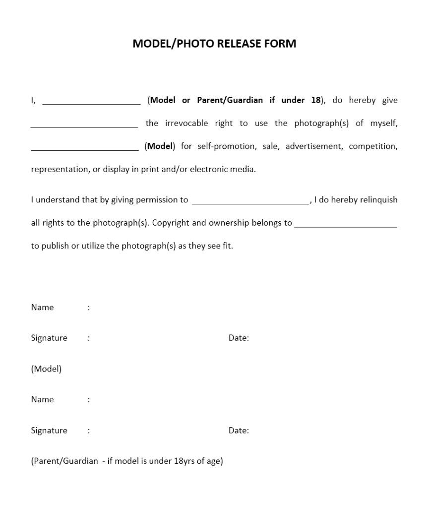 Model Release Form Word Template