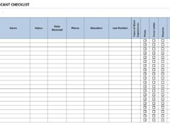 Applicant Checklist Template for Word