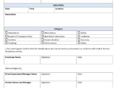 Employee Disciplinary Form Template for Word