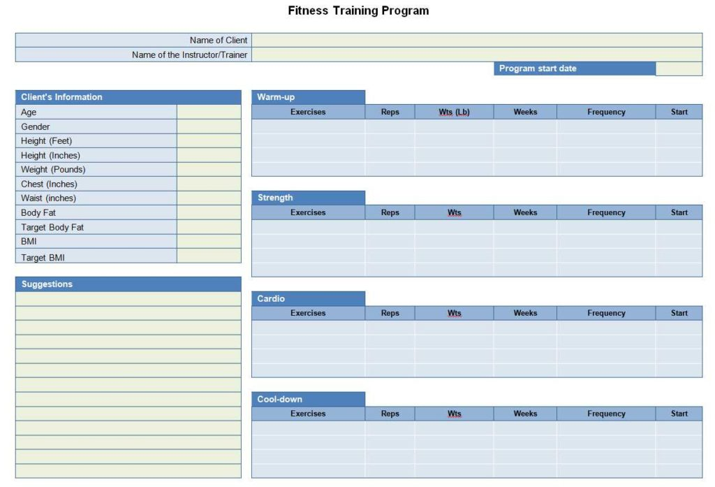 Fitness Training Program Template for Word