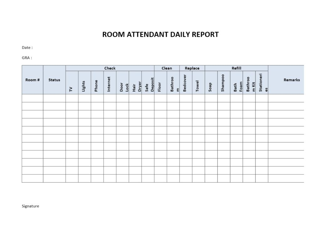 Hotel room attendant daily report for Daily hotel
