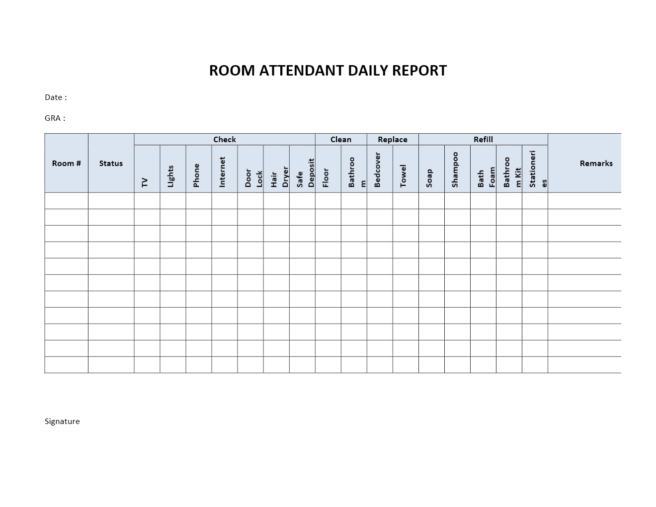 Hotel Room Attendant Daily Report Template For Word