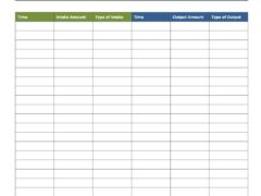 Intake and Output Record Template for Word