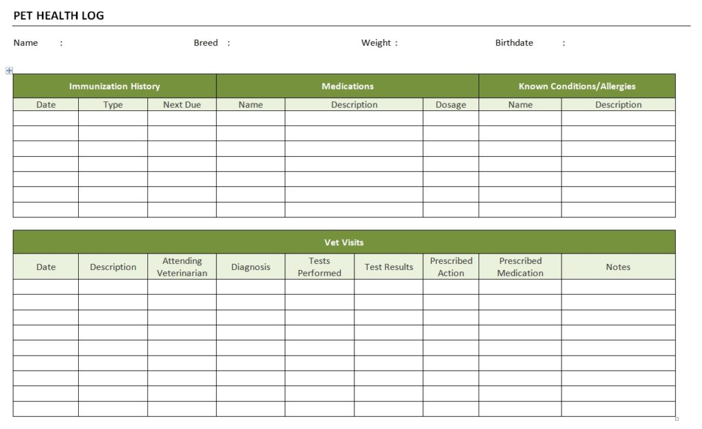 Pet Health Log Template for Word