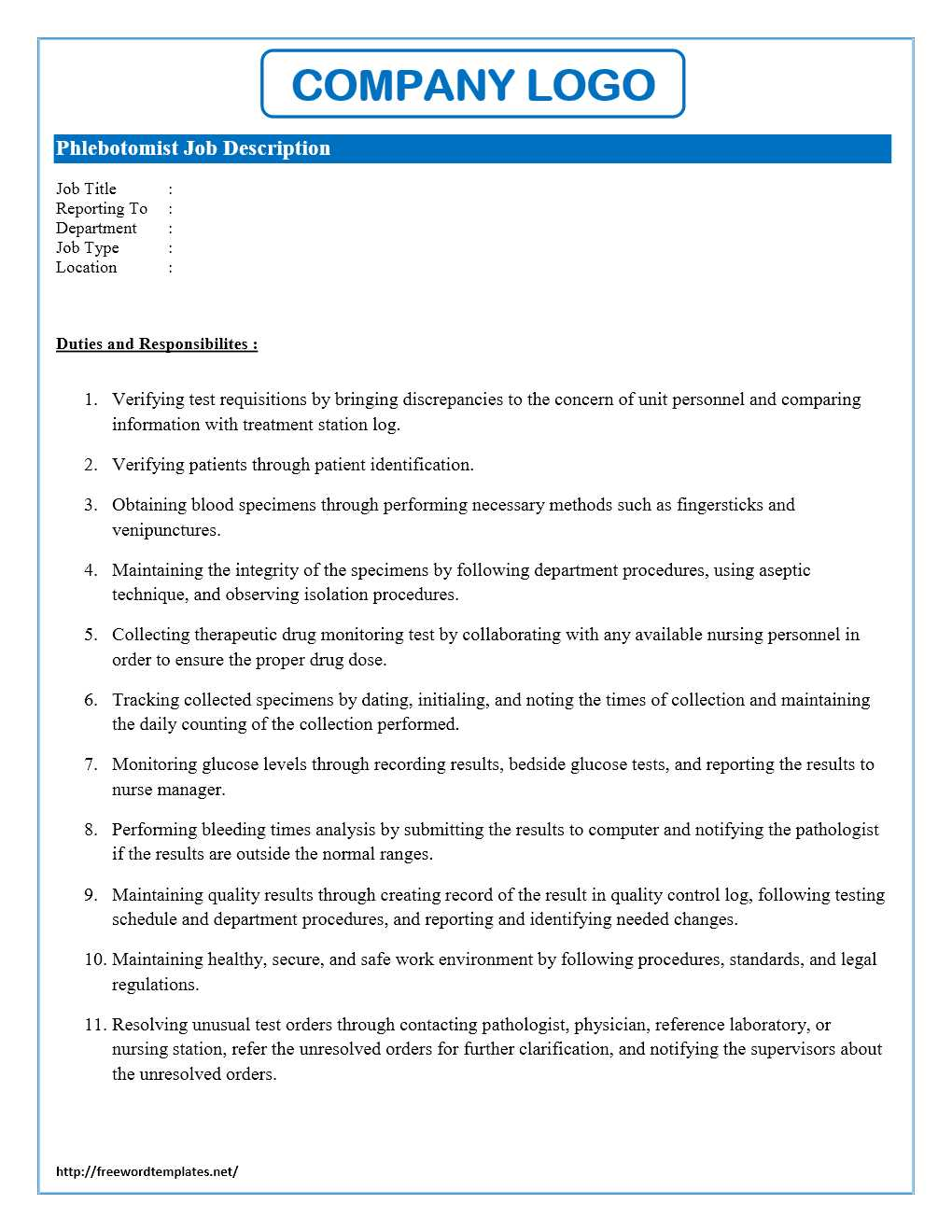 Phlebotomist job description for Template for job description in word