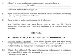 Property Management Contract Template for Word