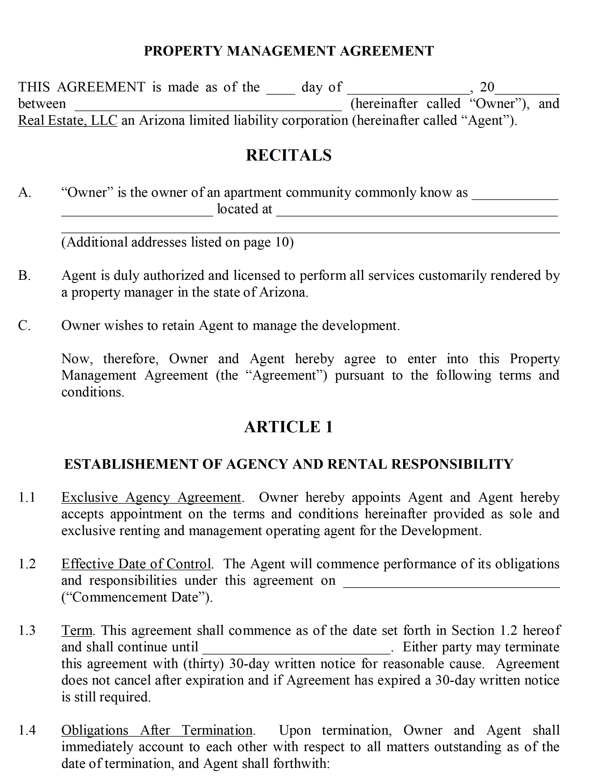 Separation Agreement Template – Property Agreement Template