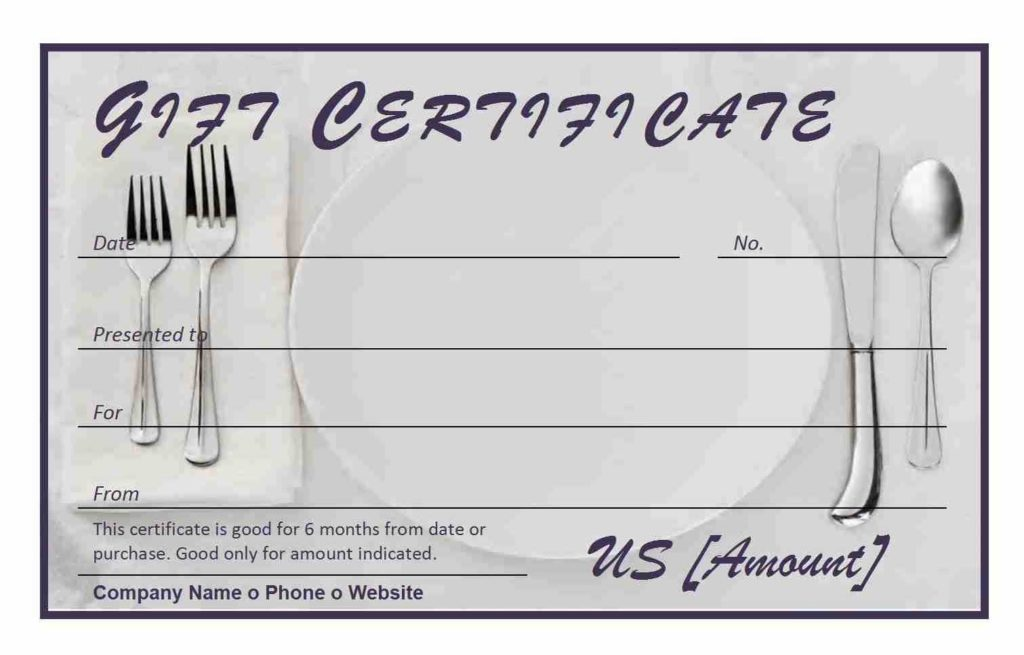 Restaurant Gift Certificate Template for Word