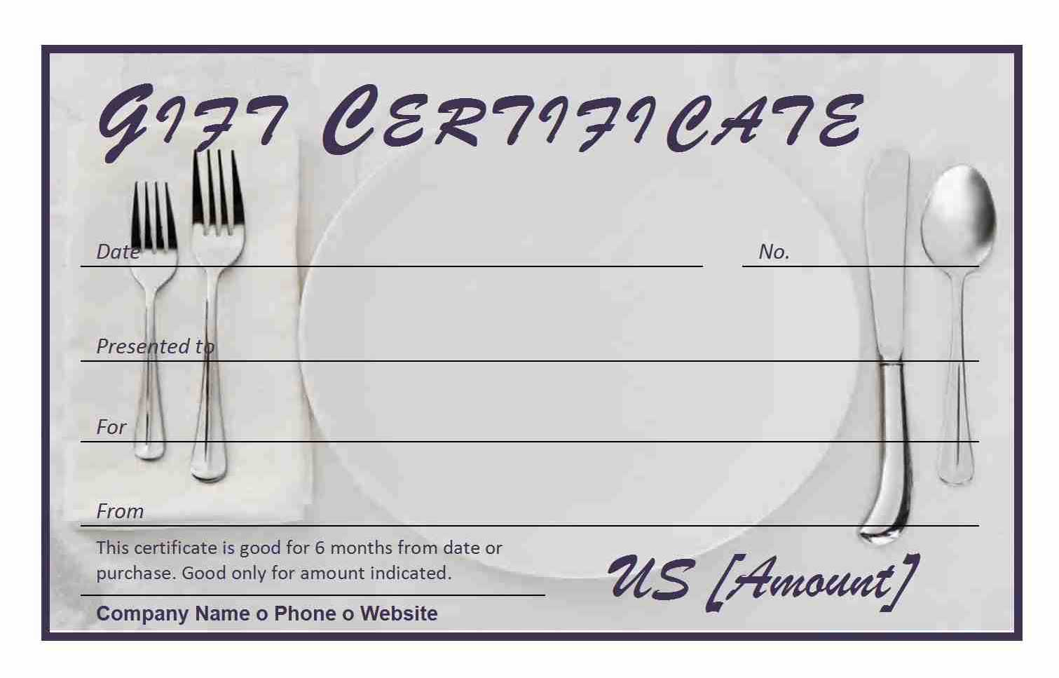 restaurant gift certificate. Black Bedroom Furniture Sets. Home Design Ideas