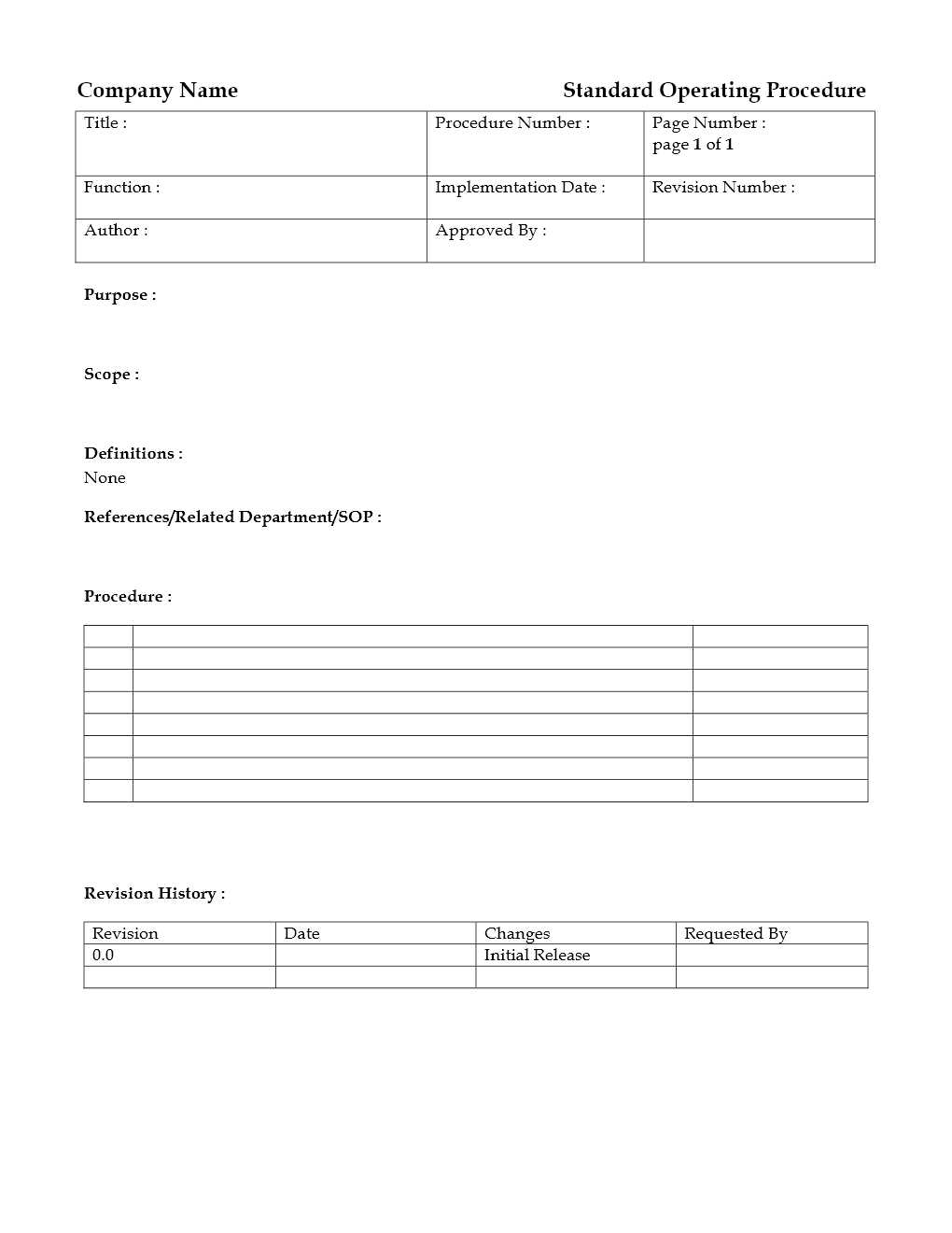 Standard operating procedure for Standard operating guidelines template