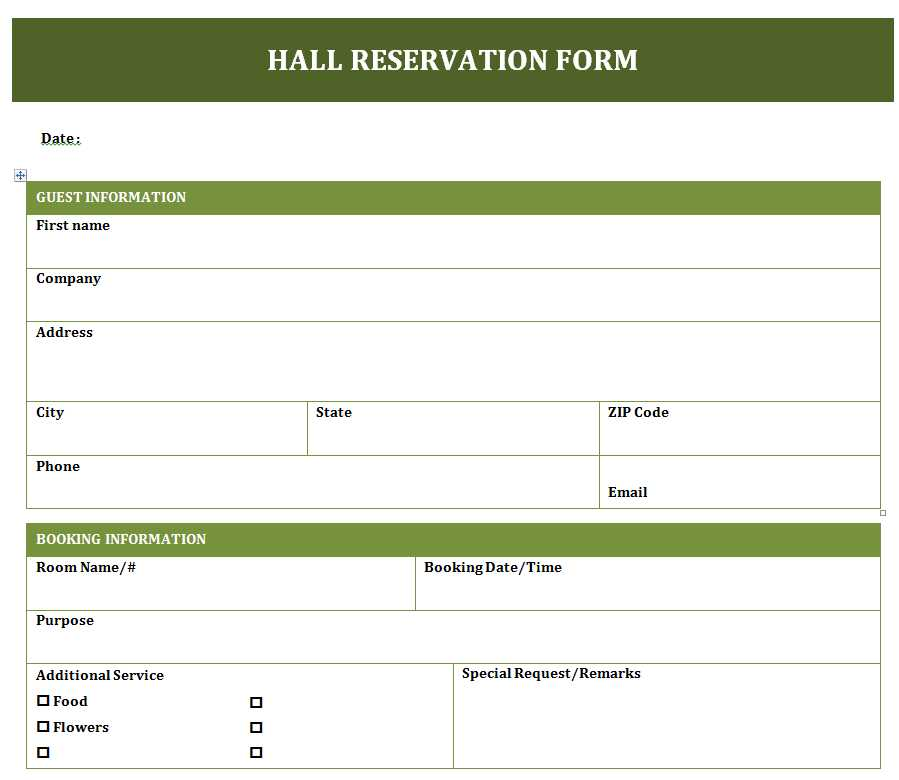 Banquet Hall Reservation Form  FreewordtemplatesNet