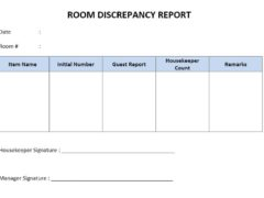 Hotel Room Discrepancy Report Template for Word
