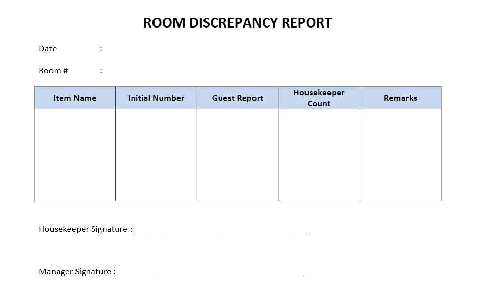 Hotel Housekeeping Supervisor Report | Freewordtemplates.Net
