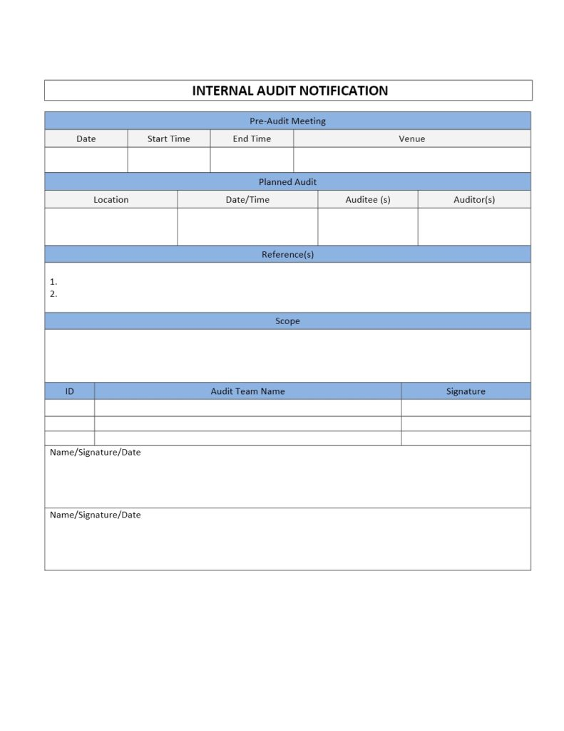 Internal Audit Notification Form Template for Word