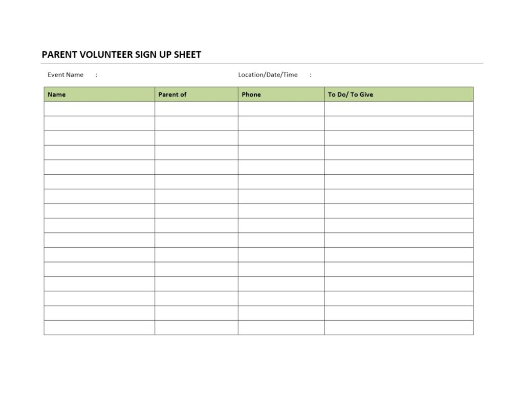 Parent Volunteer Sign Up Sheet Template for Word