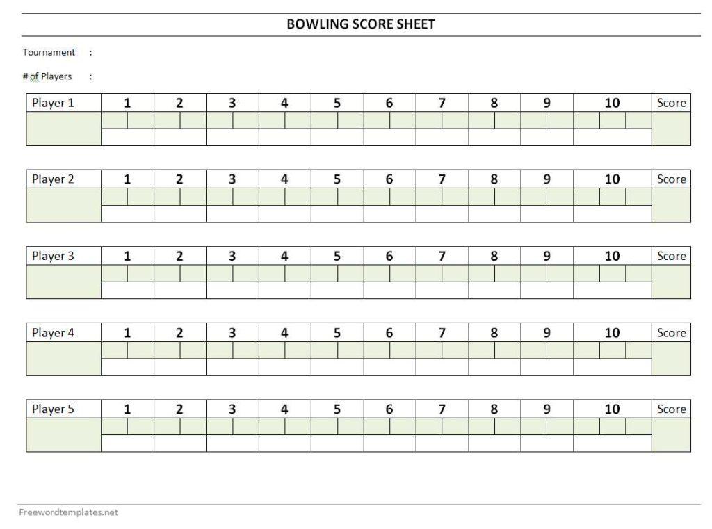 Bowling Score Sheet Template Word