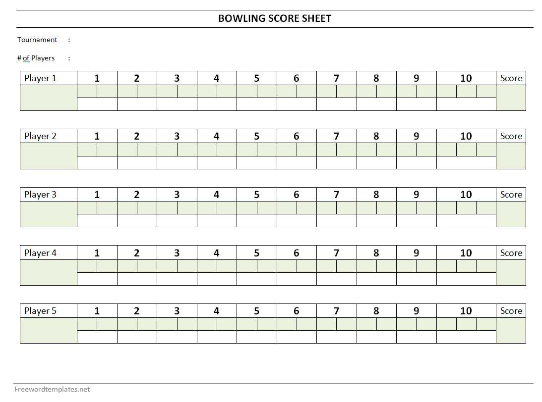 Bowling Score Sheet – Sample Scrabble Score Sheet