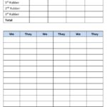 Bridge Score Sheet Template