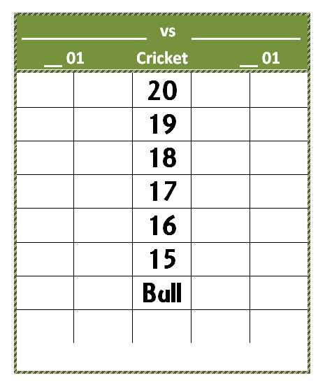 Dart Score Sheet Template