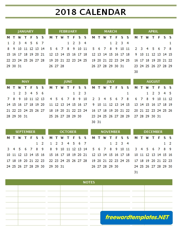 2018 Calendar Template for Word - Bottom Notes