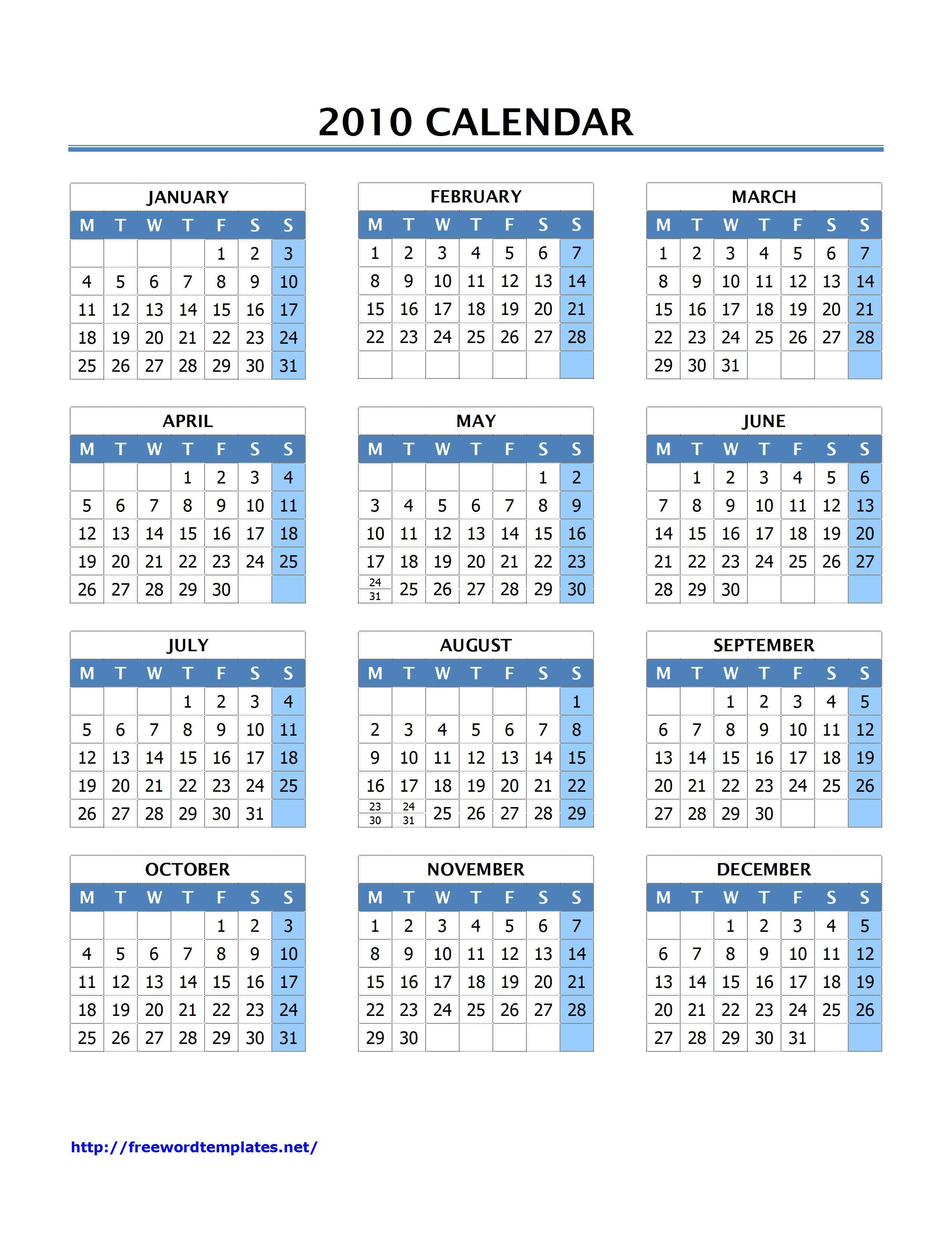 microsoft word 2010 calendar template
