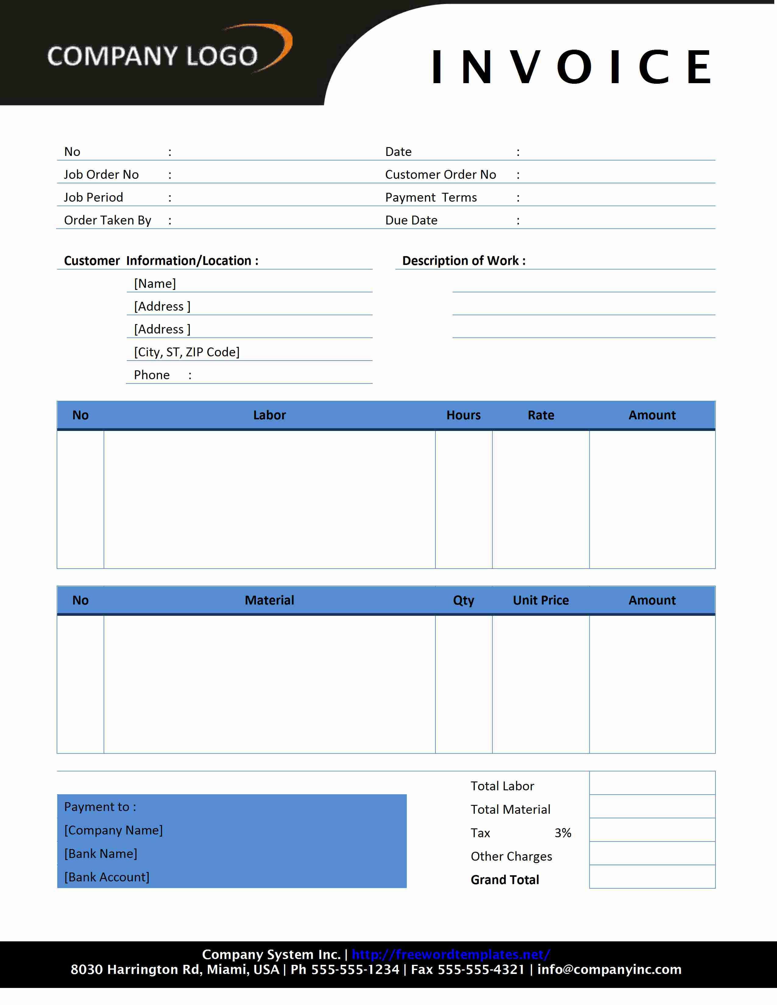 microsoft word template invoice