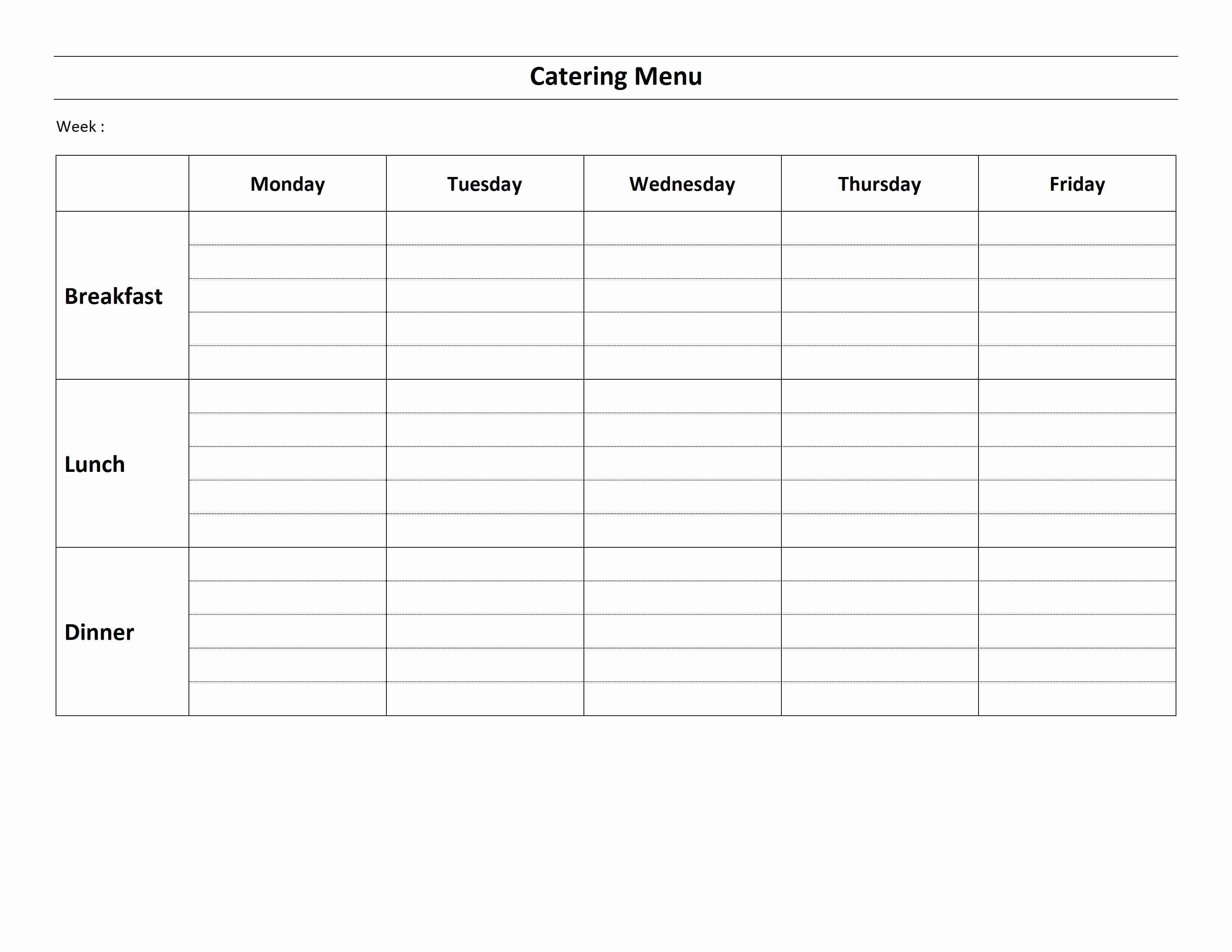 Weekly Catering Menu