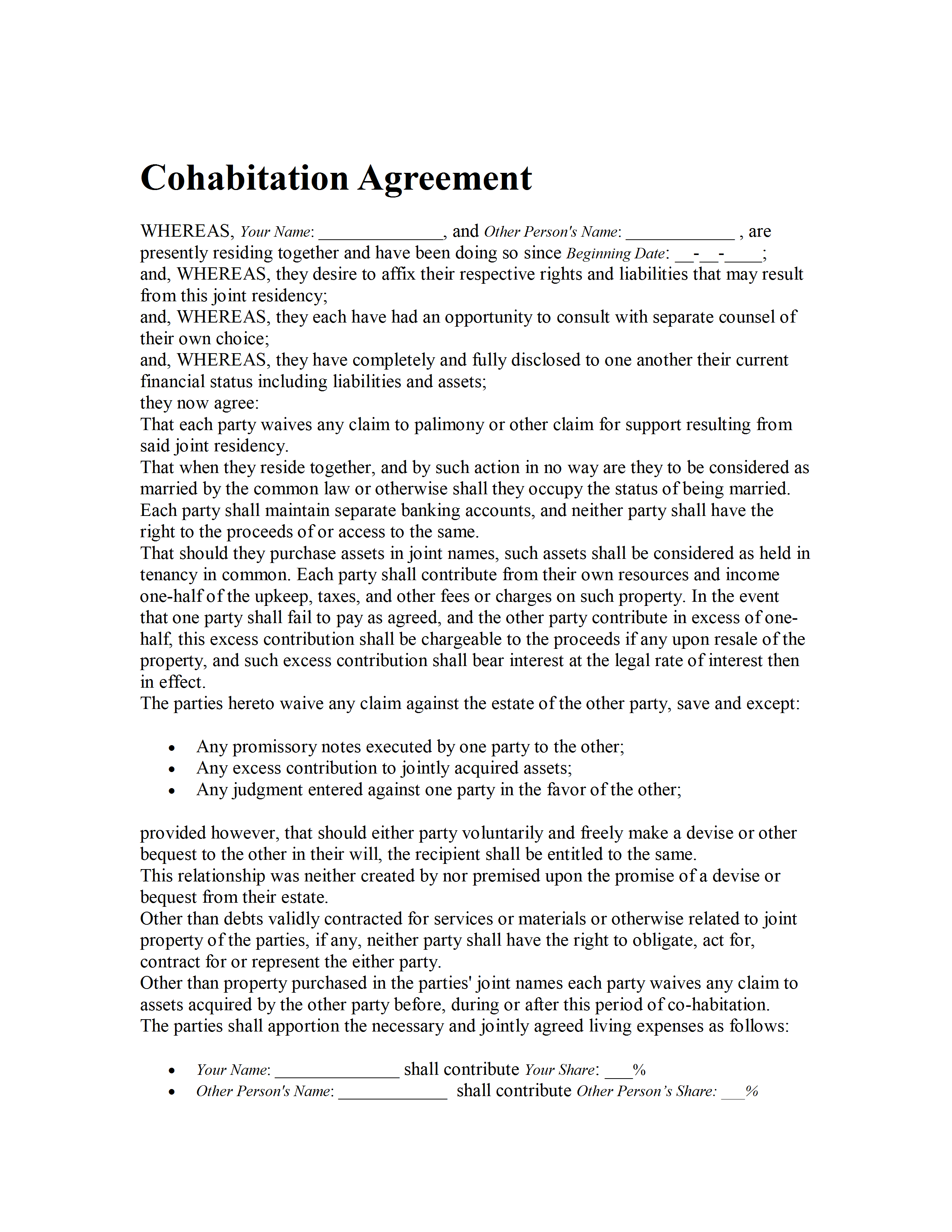 Sample Cohabitation Agreement | Cohabitation Agreement Template